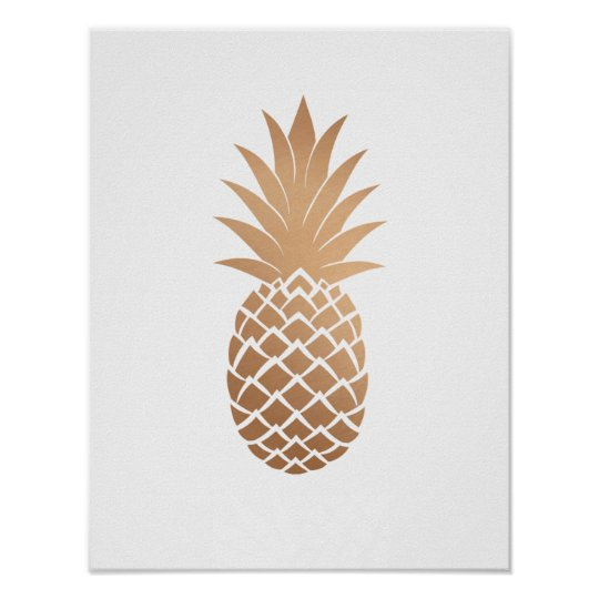Rose Gold Copper Pineapple Poster