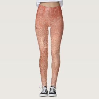 Rose Gold Copper Texture Metallic Leggings