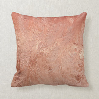 Rose Gold Copper Texture Metallic Throw Pillow