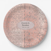 Rose Gold Damask Newsprint Wedding Paper Plate