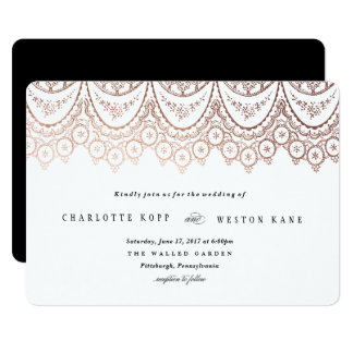 Rose Gold Delicate Lace Wedding Invitation