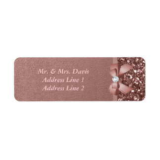 Rose Gold Diamonds Bow Glitter Return Address Label