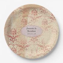 Rose Gold Distressed Damask Wedding Paper Plate