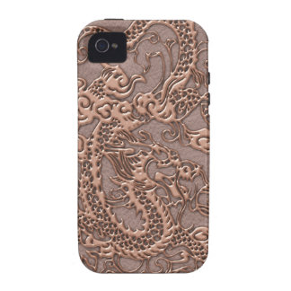 Rose Gold Dragon on Taupe Leather Texture Case-Mate iPhone 4 Cover