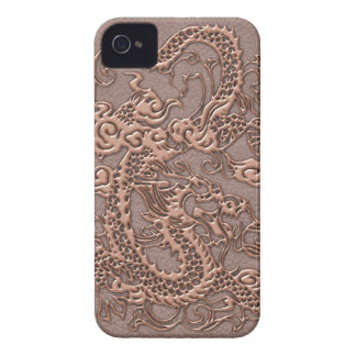 Rose Gold Dragon on Taupe Leather Texture Case-Mate iPhone 4 Cases