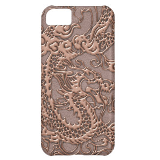 Rose Gold Dragon on Taupe Leather Texture iPhone 5C Case