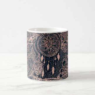 Rose gold dreamcatcher floral doodles navy blue coffee mug
