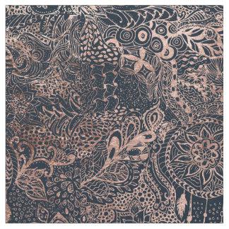 Rose gold dreamcatcher floral doodles navy blue fabric
