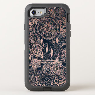 Rose gold dreamcatcher floral doodles navy blue OtterBox defender iPhone 8/7 case