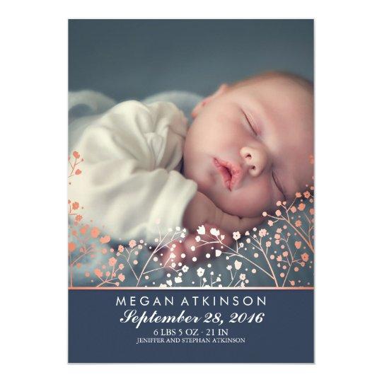 Rose Gold Effect Baby's Breath Baby Photo Birth