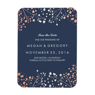 Rose Gold Effect Baby's Breath Save the Date Magnet