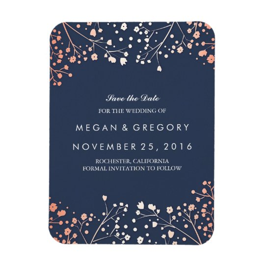 Rose Gold Effect Baby's Breath Save the Date