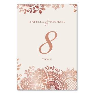 Rose gold elegant vintage lace wedding table card