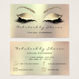 Rose Gold Eyes Makeup Lashes Instagram FB Mail Tel Business Card