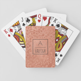 Rose Gold Faux Embossed Vintage Botanical Monogram Playing Cards