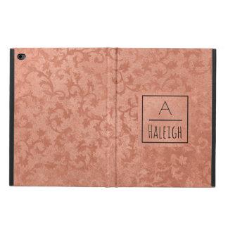 Rose Gold Faux Embossed Vintage Botanical Monogram Powis iPad Air 2 Case
