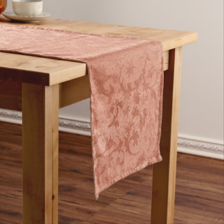 Rose Gold Faux Embossed Vintage Botanical Short Table Runner