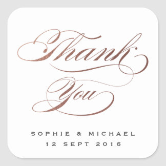 Rose gold faux foil calligraphy thank you stamp square sticker