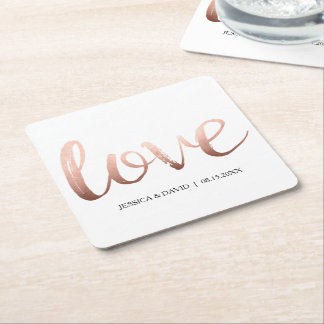 Rose Gold Faux Foil Love Square Paper Coaster