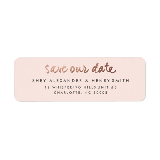 Rose gold faux foil save the date address