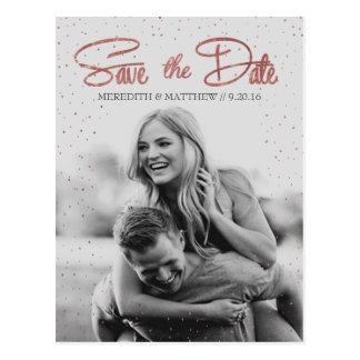 Rose Gold Faux Foil Save the Date Postcard