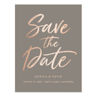 Rose Gold Faux Foil Script Postcard