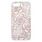 Rose Gold Faux Foil   White Floral Lattice iPhone 8/7 Case