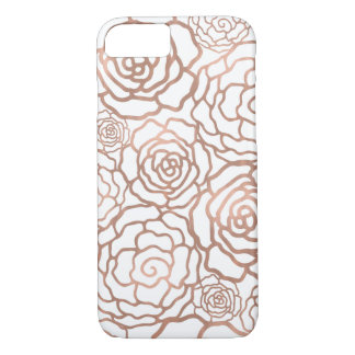 Rose Gold Faux Foil | White Floral Lattice iPhone 8/7 Case