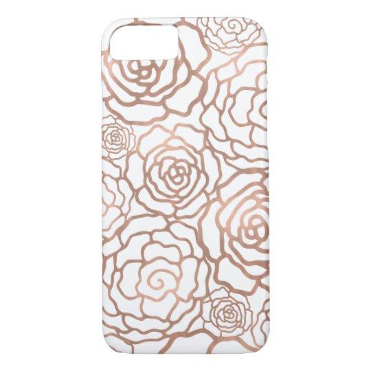 Rose Gold Faux Foil | White Floral Lattice