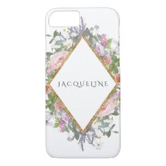 Rose Gold Faux Geometric Modern Peony Eucalyptus iPhone 8/7 Case