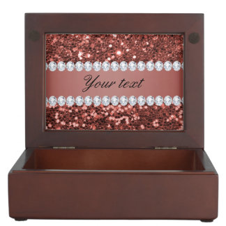 Rose Gold Faux Glitter and Diamonds Personalized Keepsake Boxes