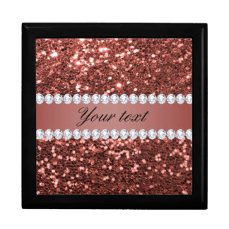 Rose Gold Faux Glitter and Diamonds Personalized Large Square Gift Box
