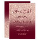 Rose gold faux glitter burgundy girl baby shower card