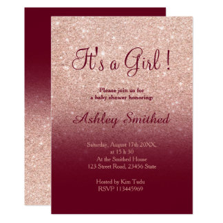 Rose gold faux glitter burgundy girl baby shower card