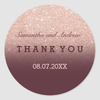 Rose gold faux glitter burgundy ombre Thank you Classic Round Sticker