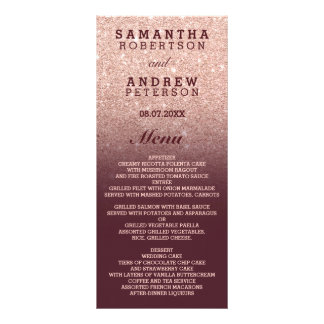 Rose gold faux glitter burgundy ombre wedding menu personalised rack card