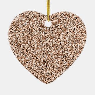Rose Gold Faux Glitter Ceramic Heart Decoration