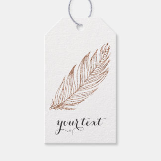 Rose Gold Faux Glitter Feather Gift Tags