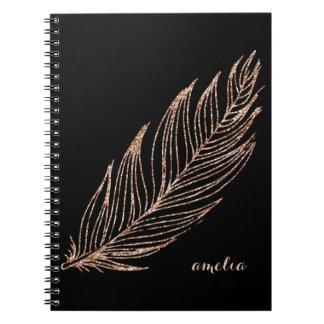 Rose Gold Faux Glitter Feather Personalized Notebooks