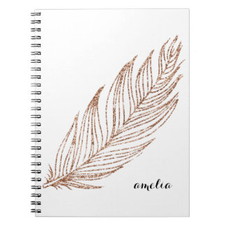 Rose Gold Faux Glitter Feather Personalized Spiral Notebook