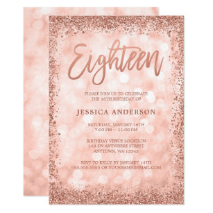 Rose Gold Faux Glitter Lights 18th Birthday Invitation