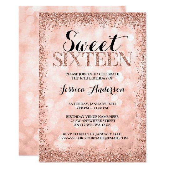 Rose Gold Faux Glitter Lights Sweet 16 Birthday Invitation