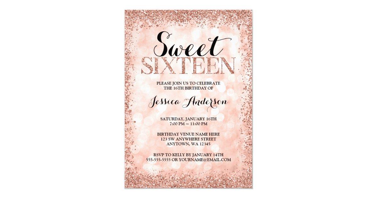 Rose Gold Faux Glitter Lights Sweet 16 Birthday Invitation | Zazzle ...
