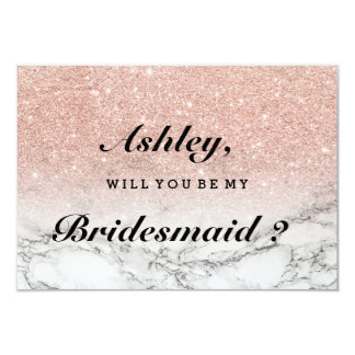 Rose gold faux glitter marble be my bridesmaid card