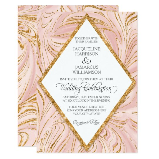 Rose Gold Faux Glitter Marble Blush Paper Wedding