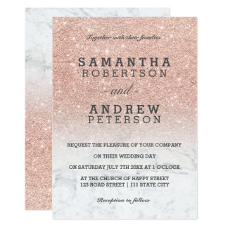 Rose gold faux glitter marble ombre wedding card