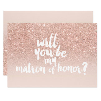 Rose gold faux glitter ombre chic matron of honor card