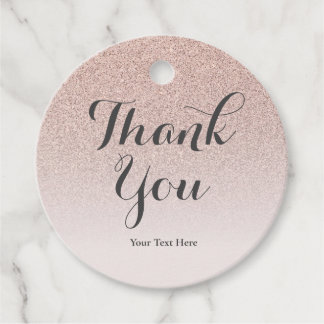 Rose Gold Faux Glitter Ombre Pink Birthday Favour Tags