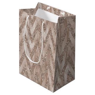 Rose Gold Faux Glitter Paint Chevron Stripes Medium Gift Bag