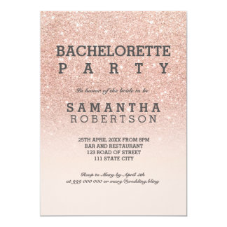 Rose gold faux glitter pink bachelorette party 13 cm x 18 cm invitation card